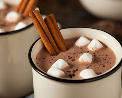 Vegan chocolate drink with marshmallows